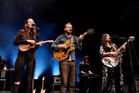 Justin Vernon of Bon Iver with The Staves in London. File photo / Getty Images