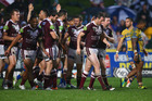 The Manly Sea Eagles celebrate against Parramatta in 2015. Photo / Getty Images