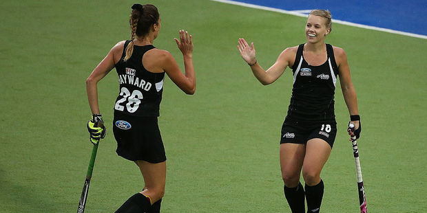 Pippa Hayward (L) scored twice for the Black Sticks. Photo / Getty
