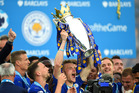 Leicester City striker Jamie Vardy celebrates winning the English Premier League title. Photo / Getty Images