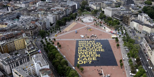 A giant poster in Plainpalais place, Geneva. Photo / Getty