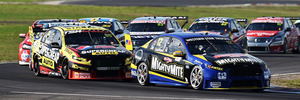 Fabian Coulthard leads the pack during race 2 for the V8 Supercars Winton round. Photo / Getty Images