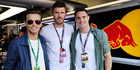 One Direction singer Louis Tomlinson, Manchester United midfielder Michael Carrick, and former All Black first five Dan Carter share a photo at the Monaco Grand Prix. Photo / Getty Images