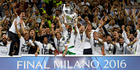 Real Madrid lift their 11th Champion League trophy after defeating Atletico Madrid 5-3 on penalties following a 1-1 draw in Milan this morning (NZT). Photo / Getty Images