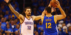 Kiwi v Aussie. Steven Adams defends Andrew Bogut in game six. Photo / Getty Images