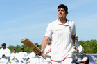 England captain Alastair Cook leaves the field after defeating Sri Lanka in their second test. Photo / Getty Images