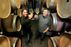 GOING ... GOING: Monowai Estate winemakers Emma Lowe and Marcelo Nunez tatste the