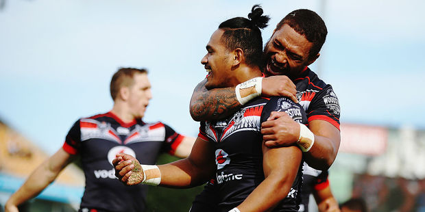 Solomone Kata and Manu Vatuvei are in the Warriors side named to play the Broncos on Saturday. Photo / Getty