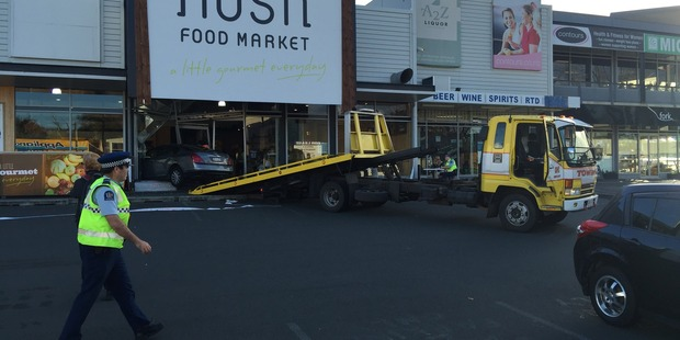 A car has driven into the front window at the Nosh food store in Glenn Innes. Photo / Supplied