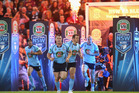 Blues captain Paul Gallen leads his team onto the field during game three of last year's State of Origin series. Photo / Getty Images.