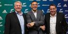 Three way handshake - New Zealand rugby star Sonny Bill Williams, centre, with Steve Tew and Steve Hansen. Photo / Brett Phibbs
