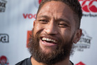 The Beast is back - A smiling Manu Vatuvei during the Warriors press conference held at their base at Mt Smart Stadium, Auckland. Photo / Brett Phibbs