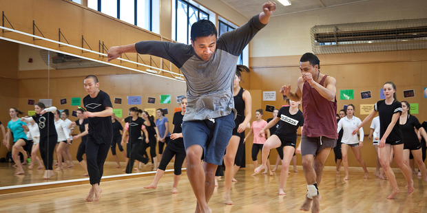 Dancer Tupua Tigafua of the New Zealand Dance Company runs a workshop with senior dance students at Tauranga Girls' College. Photo / Andrew Warner