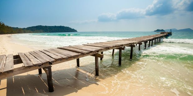 Koh Rong Island boasts quiet, white sand beaches.