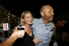 Presenter Tara Brown and producer Stephen Rice arrive at Sydney International Airport on April 21 after being freed from detention in Lebanon. Photo / Getty Images