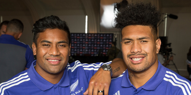 Loading All Blacks brothers, Julian Savea and Ardie Savea pose during the New Zealand All Blacks squad announcement at The Heritage Hotel, Auckland. Photo / Brett Phibbs.
