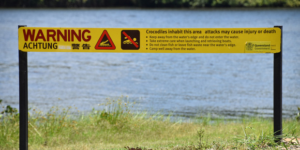 Beware of crocodiles sign at an estuary in the Daintree National Park. Photo / Supplied