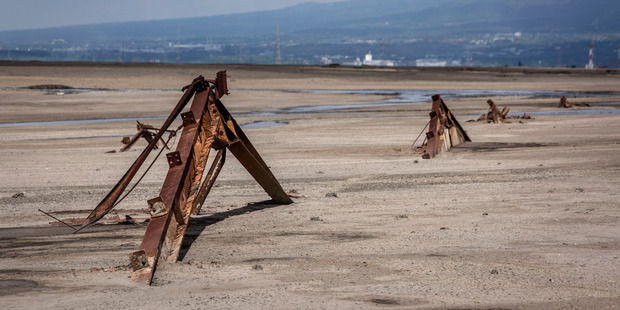 The remains of a factory destroyed by the mudflow. Photo / Getty Images