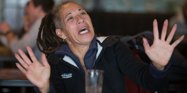 Steven Adam's former coach and guardian Blossom Cameron reacting while watching the NBA playoffs. Photo / Mark Mitchell