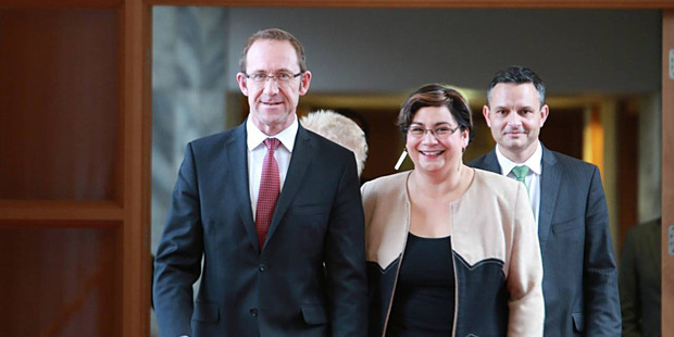 Labour leader Andrew Little and Green Party co-leaders Metiria Turei and James Shaw are all smiles in their show of solidarity. Photo / Facebook