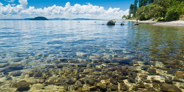 The crystal clear waters of Lake Taupo.