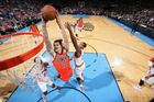 Steven Adams #12 of the Oklahoma City Thunder dunks the ball against the Cleveland Cavaliers on February 21, 2016 Photo Getty Images
