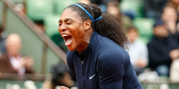 Serena Williams of the U.S. clenches her fist after scoring a point in the semifinal match of the French Open tennis tournament against Netherlands' Kiki Bertens. Photo / AP.