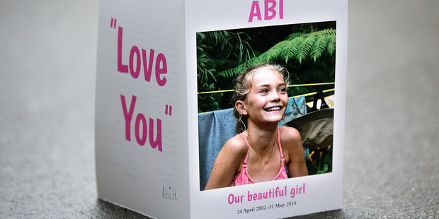 Funeral service card for Abi Hone. Photo / Supplied