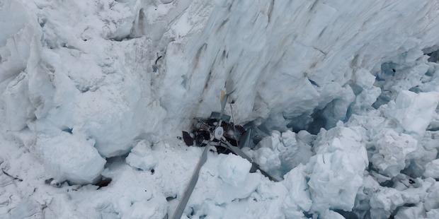 "Wreckage of a Alpine Adventures Scenic Flights Eurocopter 6 "" Squirrel "" helicopter at Fox Glacier."