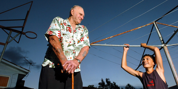A 2006 photo of a 12-year-old Steven Adams with his father Sid, taken by Rotorua Daily Post photographer Stephen Parker. PHOTO/FILE