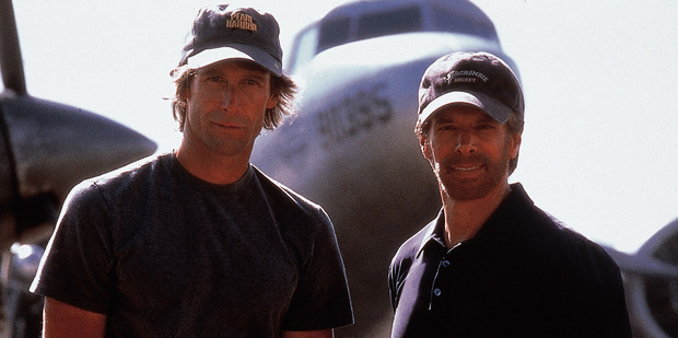 Director Michael Bay and producer Jerry Bruckheimer of blockbuster movie Pearl Harbor.