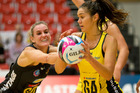 Central Pulse goal attack Ameliaranne Wells holds off Waikato Bay of Plenty Magic defender Leana de Bruin at ASB Arena. Photo / Alan Gibson
