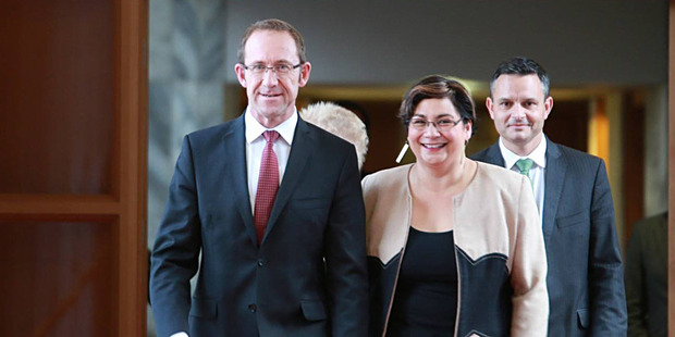 Days after Andrew Little and Metiria Turei announced a Labour and Greens coalition, Andrew Little received a warm response at the Green Party AGM. Photo / Facebook/Labour Party