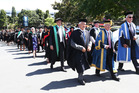 Graduates of the University of Auckland's Tai Tokerau campus march through Whangarei. Photo / Michael Cunningham