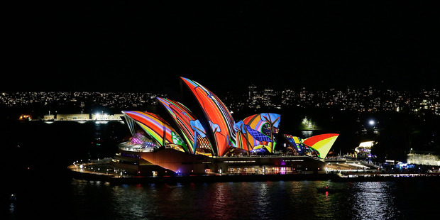 The Sydney Opera House sails light up as part of Vivid Sydney. Photo / Supplied