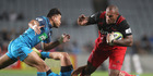 Nemani Nadolo of the Crusaders is tackled during the round 14 Super Rugby match between the Blues and the Crusaders at Eden Park. Photo / Getty Images.