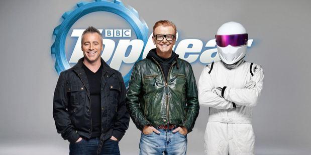 Matt LeBlanc, Chris Evans and Stig in the new Top Gear show.