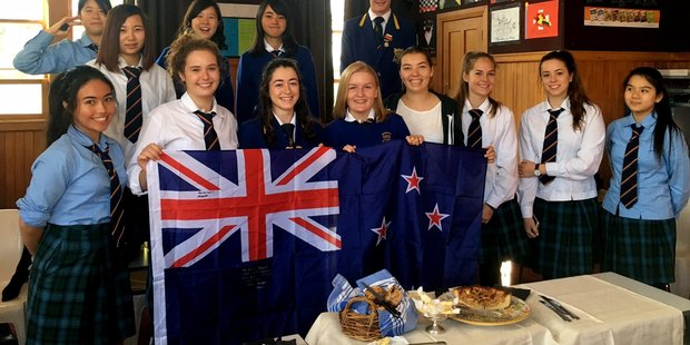 Wairarapa College students share a lunch with international students who were returning home after living in Masterton and attending Wairarapa College. PHOTO/SUPPLIED