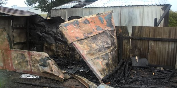 Firefighters believe a fire which destroyed a shed and a garage in Carterton over the weekend was deliberately lit. PHOTO/SUPPLIED
