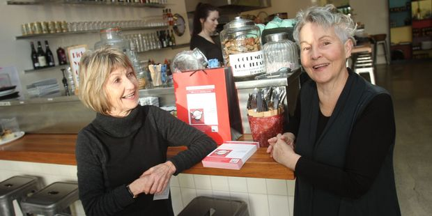 """The """"two short whites"""", Nicky Brindle (left) and Sue Wright, at their Greytown cafe, 2 Short Whites, where they will hold a singles night for those over 50. PHOTO/ANDREW BONALLACK"""