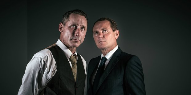 Actors Edwin Wright (left) and Stephen Lovatt, who in the play Everest Untold respectively play Kiwi climber George Lowe and Sir John Hunt. PHOTO/SUPPLIED