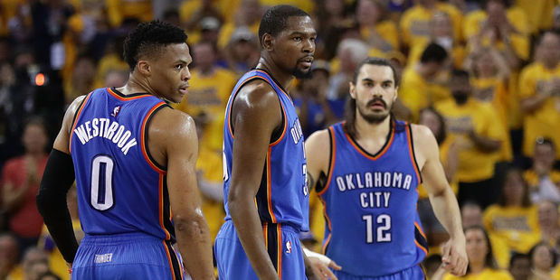 Thunder trio Russell Westbrook, Kevin Durant and Steven Adams. Photo / Getty