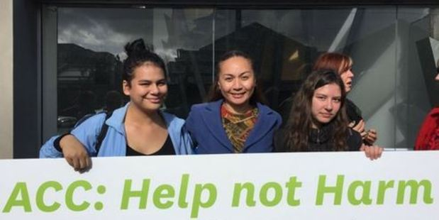 Green Party MP Marama Davidson with supporters outside Auckland ACC. Photo / via Twitter