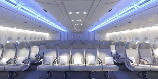 Three seats would remain near each window, but there would be five, not four, seats in the middle. Photo / Airbus