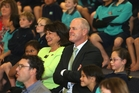 SMILES: Education minister Hekia Parata and Bay of Plenty MP Todd Muller at Welcome Bay School yesterday, where Ms Parata announced $22.5 million of funding initiatives for Tauranga.PHOTO/JOHN BORREN