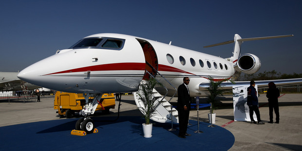 A Gulfstream G650 business jet at the Cheongju International Airport Air Show in South Korea. Photo / Bloomberg