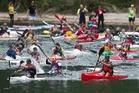 The kayak start at last year's event at Tikitapu.