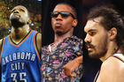 Is Kevin Durant (left) holding back Steven Adams (right) and the rest of the team by not paying homage to Lil B? (centre). Photos / Getty