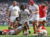 Marland Yarde of England celebrates the try of Ben Youngs. Photo / Getty