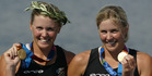 Caroline (left) and Georgina Evers-Swindell with their gold medals in Athens. Photo / Mark Mitchell